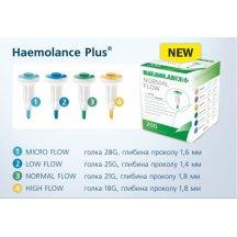 Автоматический медицинский ланцет HAEMOLANCE Plus LOW FLOW с круглой кнопкой, игла 25G (1,4 мм) 200 шт