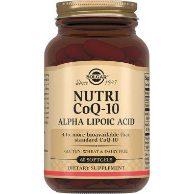 SOLGAR NUTRI COQ-1O ALPHA LIPOIC ACID SOFTGELS Солгар Нутрикоэнзим Q-10 с альфа-липоевой кислотой капсулы №60