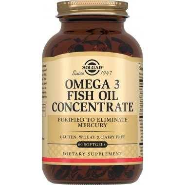 SOLGAR OMEGA 3 FISH OIL CONCENTRATE Солгар Омега-3 концентрат рыбьего жира капсулы №60