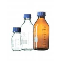 Банка для реактивов темное стекло со шкалой и синей пластиковой навинчивающейся крышкой, EximLab (100 мл)