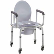 Стальной стул-туалет на колесах, с откидными подлокотниками OSD-2107D
